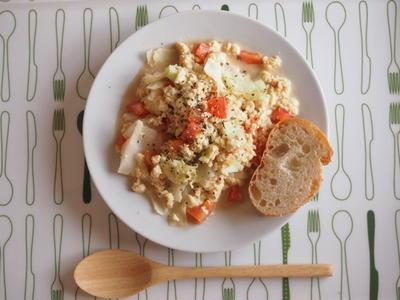 【ヘルシーな朝食に☆】キャベツとトマトの豆腐スクランブルエッグ★