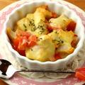 「鶏唐揚げ&ミニトマトのチーズ焼き *マヨ醤油ドレッシング風味」