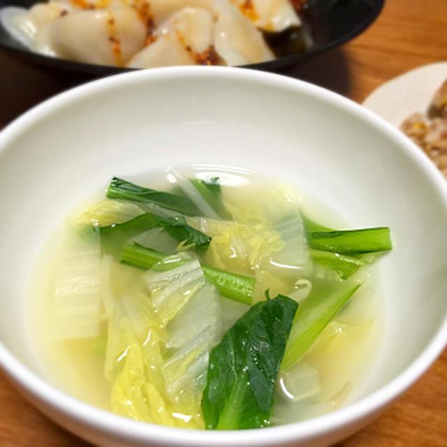 白菜と小松菜の中華スープ