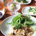 豆腐ハンバーグ、きのこ麺つゆあん。
