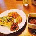 サラダチキンの黒胡椒グリル~カレーソース~と、玉ねぎのステーキで、軽めダイエットお家ランチ