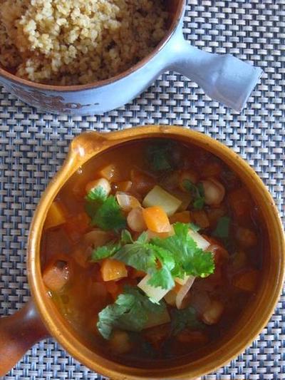 ひよこ豆と野菜とコリアンダーのマグレブ風スープ&ブルグルご紹介