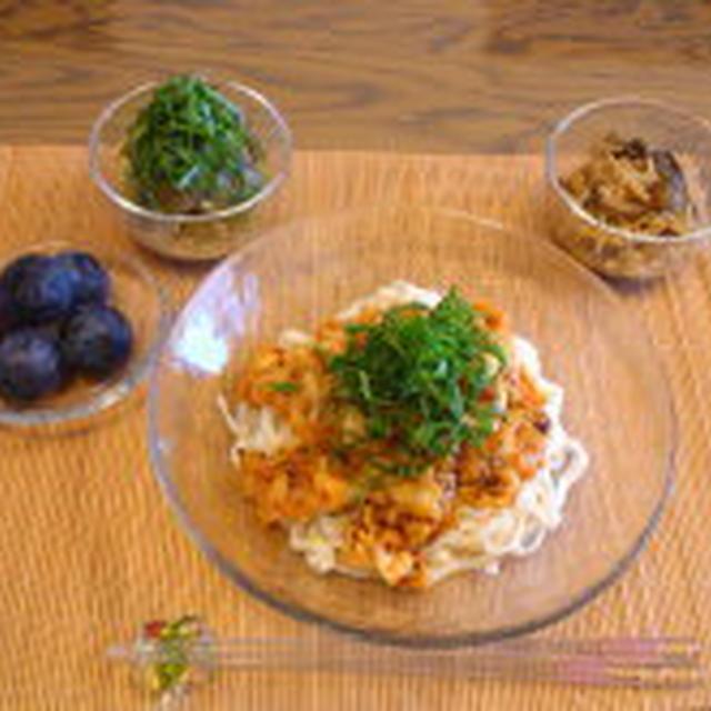 8/13 夕食:豆乳こんにゃく麺を使って+【レシピ】茄子ごんげ
