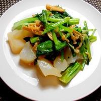 こんにゃくと小松菜のオイスターソース炒め・・・40円なり