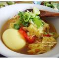 チキンステーキから激変リメイク・おでん風味の野菜スープへ!