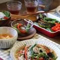 彩り野菜のあんかけそば と 揚げびたし。