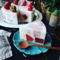 寒天ケーキ色々~❤️と、自家製いちごミルクの素を使って♪ふんわり春色♪いちごミルク寒天ケーキ❤️