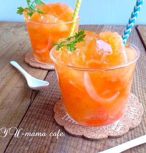 ジューシー!グレープルーツ はちみつレモンソーダゼリー♡朝ごはん、ひんやりスイーツ。