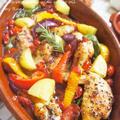 スペインの煮もの★骨付きチキンと野菜のガーリック煮