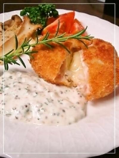 カマンベール海老カツ✿白いマスタードソース添え