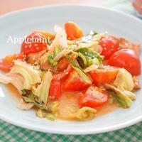 【簡単5分缶詰レシピ】焼鳥(缶)とトマトとキャベツのごまだれ炒め