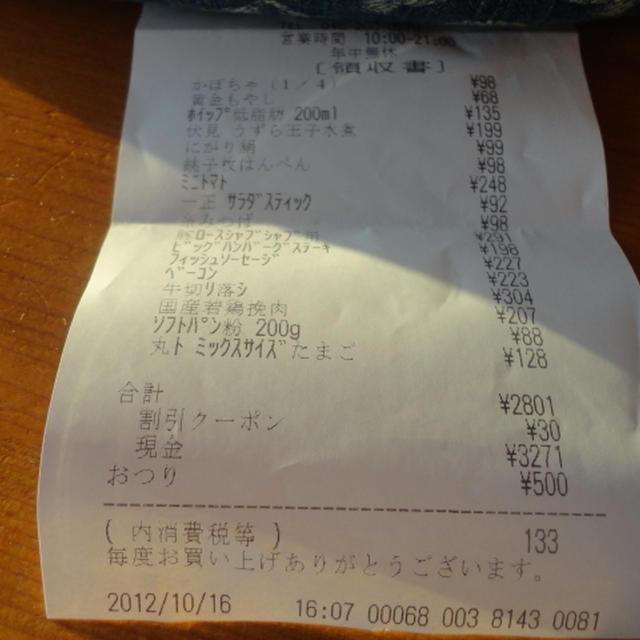 10月の食費の合計14657円也
