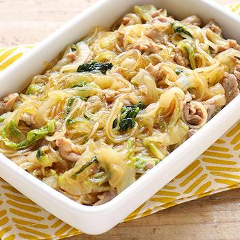 白菜と豚肉のはるさめ炒め煮