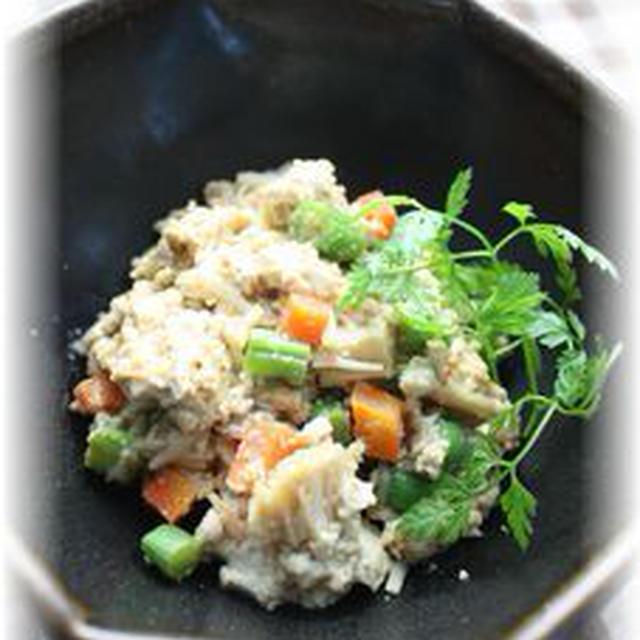 胡麻味噌炒り豆腐。 と朝御飯。
