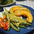 カリッと♡美味。いんげんの天ぷらと威嚇中。