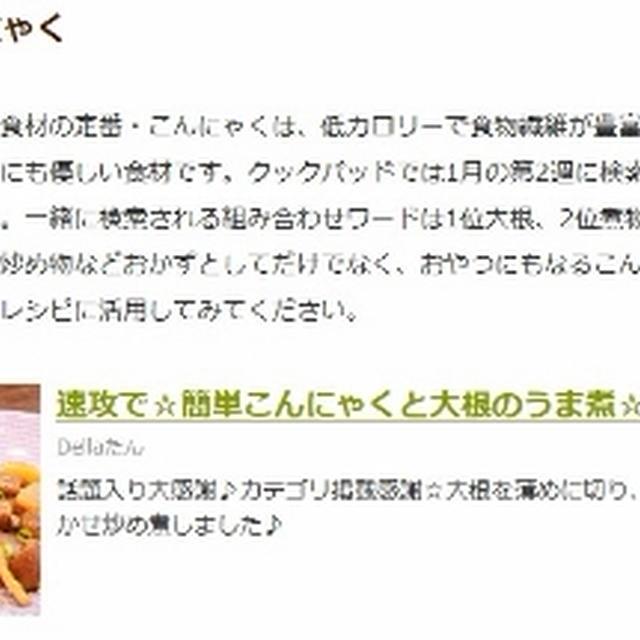 クックパッドニュース掲載 速攻で☆簡単こんにゃくと大根のうま煮☆