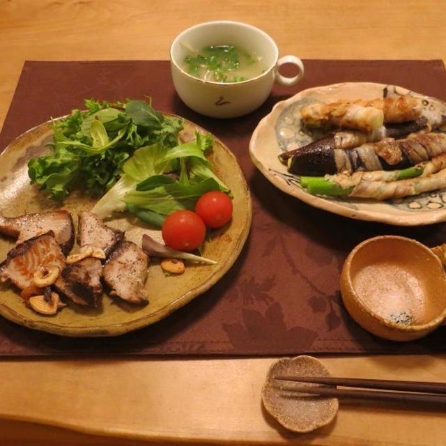 かつおのガーリックステーキ&豚肉巻き巻きの晩ご飯 と 我が家の桜♪