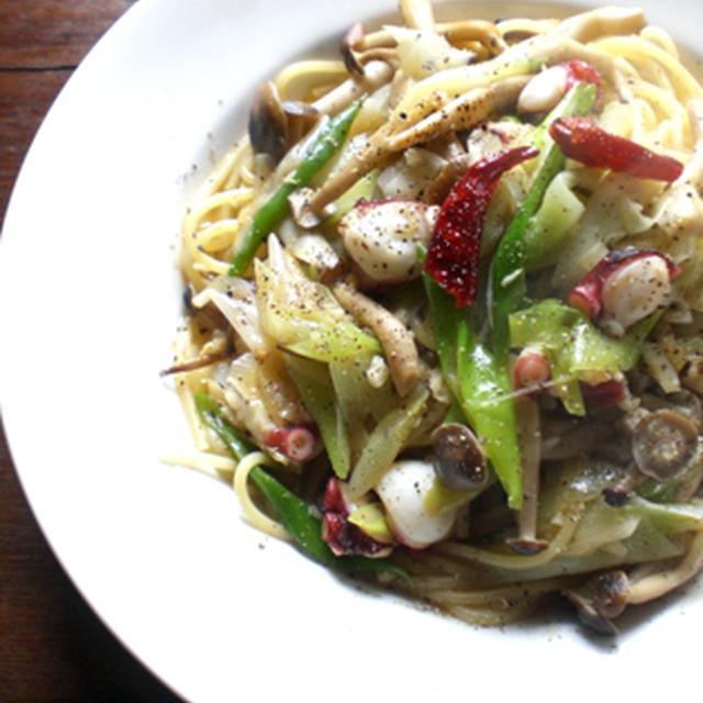 蛸と葱の和風ペペロンチーノ