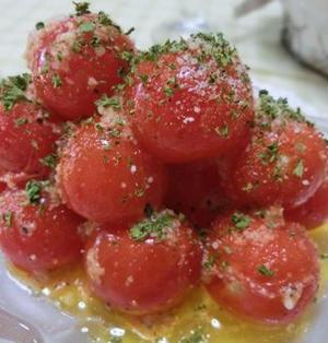 5分以内☆ プチトマトのガーリックチーズ炒め