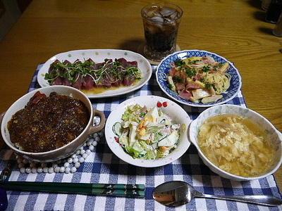 【夕食】焼きカレー・たけのことベーコンのペペロンチーノ・まぐろのカルパッチョ…