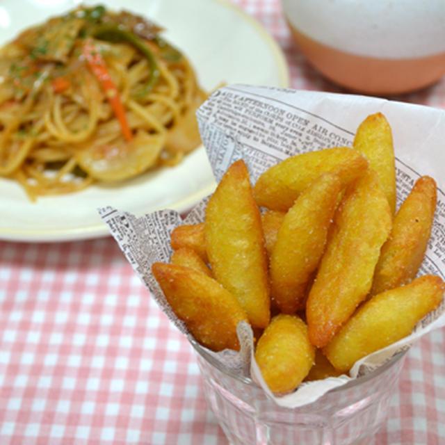 ベルギーポテト。 大人味ナポリタン、豆腐と野菜のスープの晩ご飯。