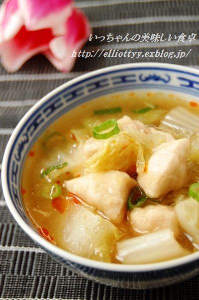 白菜とつるりんささみの生姜スープ