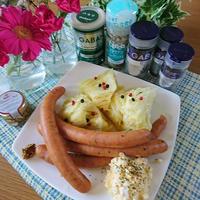 低糖質 ♪ GABANのイタリアンハーブミックスで減塩春キャベツとソーセージの蒸し煮