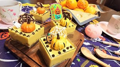 【レシピ】ハロウィン★甘さひかえめ★スイーツ★失敗なし★簡単【パンプキンレアチーズケーキ】