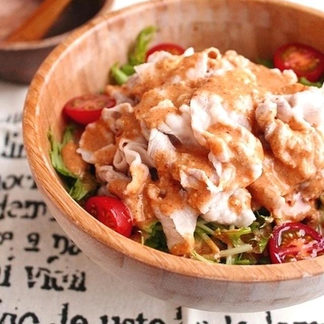 豚肉と水菜のピリ辛韓国風冷しゃぶサラダ