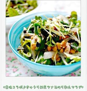 ☆美味コラボ♪きゅうり納豆ツナ玉のり和えサラダ☆