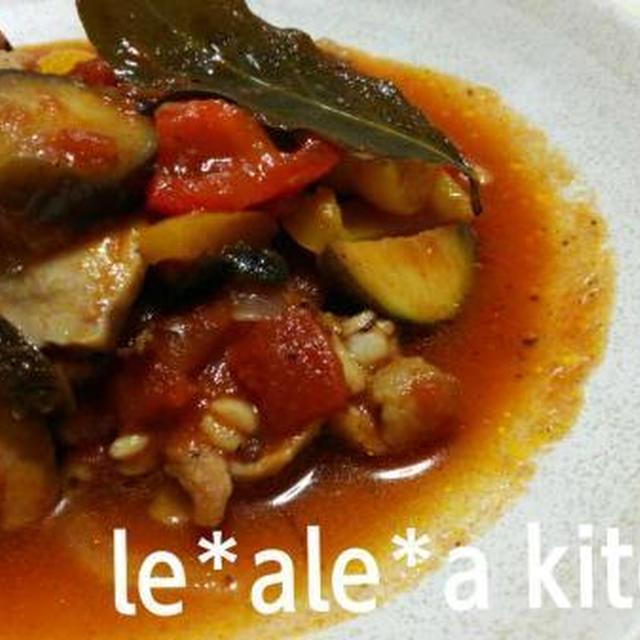 鶏肉と夏野菜のラタトゥイユ(はと麦いり!)