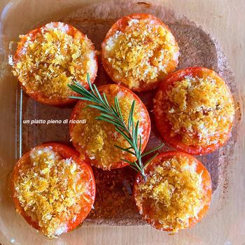 カリカリのフィリングが香ばしい トマトのオーブン焼き
