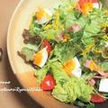 玉子とベーコンの柚子味噌ドレッシングサラダ  &キューブあんパン♪  &懐かし!シルバニアファミリー