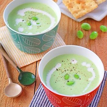 夏にピッタリ♪温でも冷でもおいしい枝豆のクリーミーポタージュ!