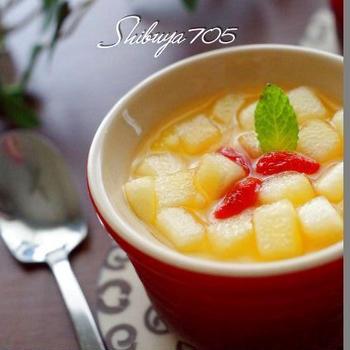 ☆ローズマリーとリンゴの杏仁豆腐☆