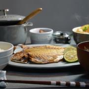 ストウブで「鶏手羽先と大根の煮物」鯵の干物定食