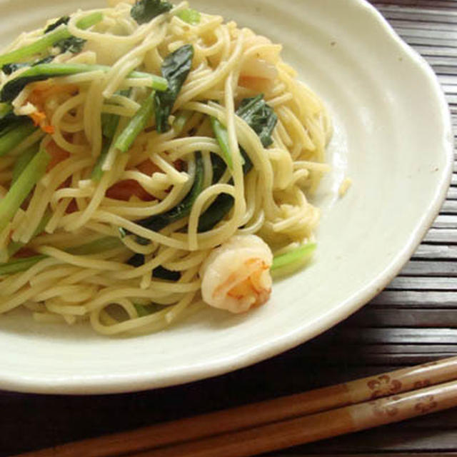 海老と小松菜の和風パスタ