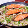 キノコと焼き鮭の和風パエリア