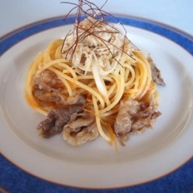 葱と牛肉のすし酢パスタ