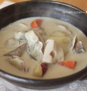 レシピ【根菜たっぷり!!牡蠣と根菜の豆乳シチュー】
