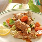 キャベツと葱の豚肉巻き~味噌バターソース