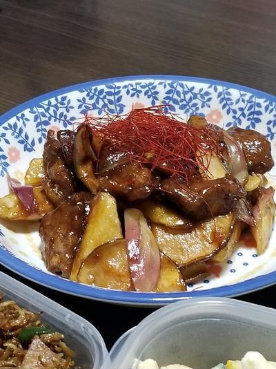 豚肉と長芋とミョウガの甘酢炒め