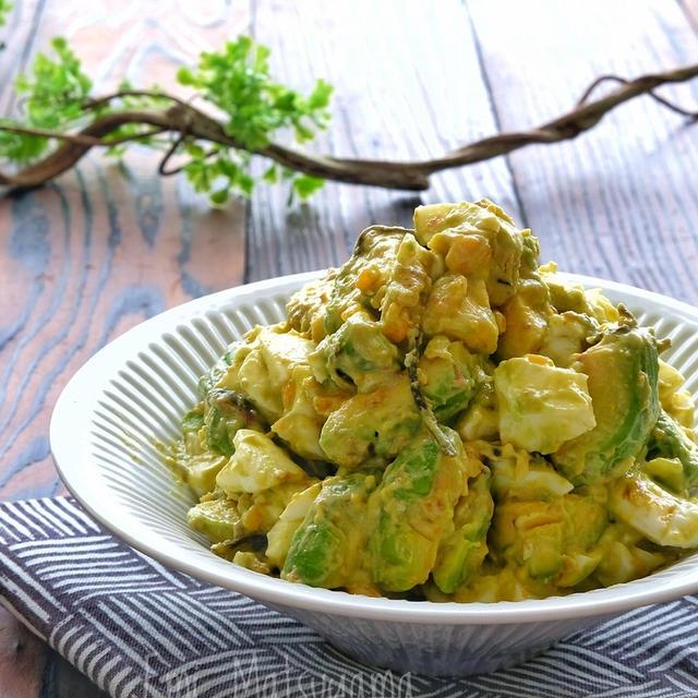 アボカドとゆで卵のおかか塩昆布マヨサラダ