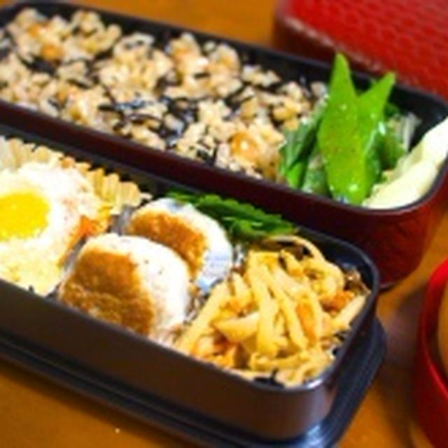 ひじきごはん弁当 & 大根菜ごはんで朝ごはん