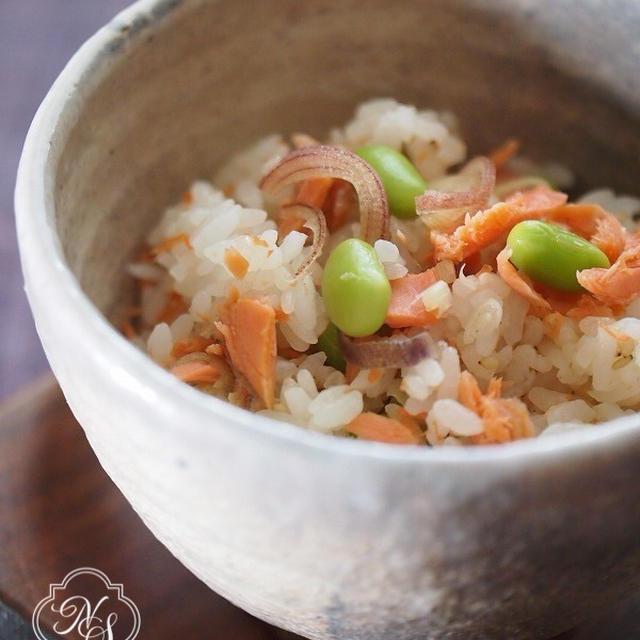 紅鮭と枝豆と茗荷の混ぜご飯♪