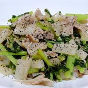 大根の葉と豚バラ肉の炒め物 と キノコと栗のおこわ♪