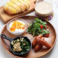 ほうれん草の卵とじガラムマサラ風味と朝ご飯いろいろ