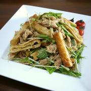 【節約&ヘルシーレシピ】鶏ささみの油揚げと水菜のごま和え♪