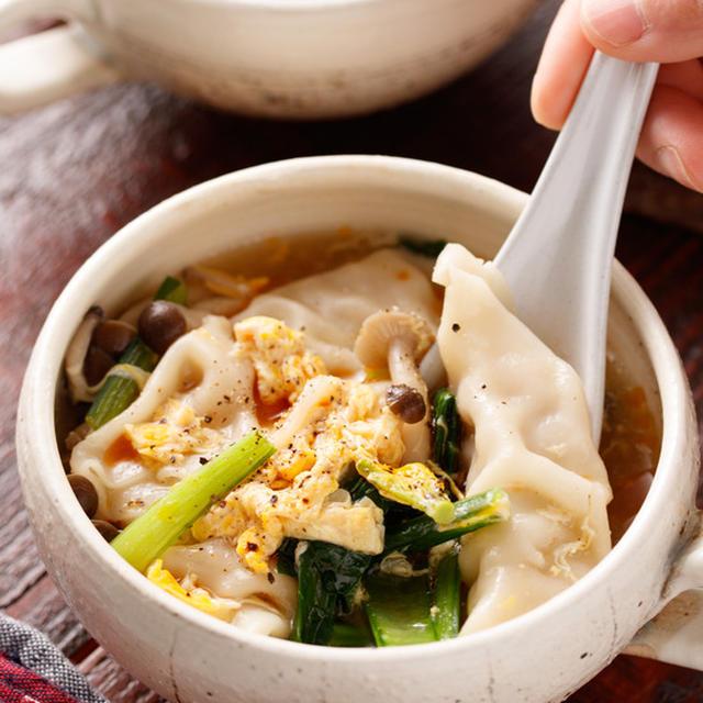 かき玉風スープ餃子【#サンラータンにも #冷凍食品 #アレンジ #おかずスープ #スープ】