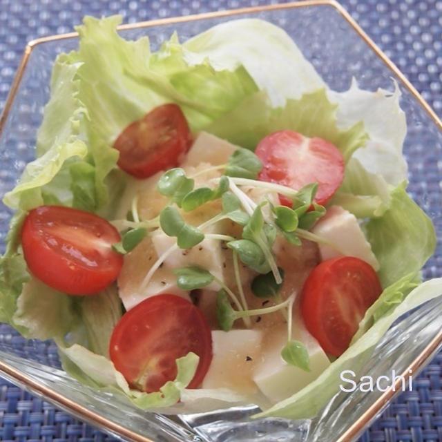 ヤマキお塩ひかえめめんつゆで、さっぱり美味しい豆腐サラダ